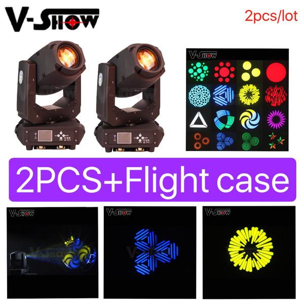 2pcs / lot + cas Tête mobile Spot Led 200W avec effet de zoom dmx control 3 facettes prisme dj stage lumière pour disco