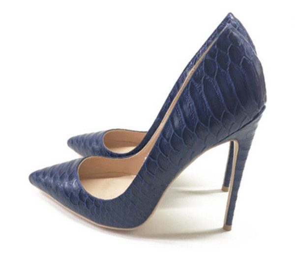 New Women's Shoes 2019 Dark Blue Serpentine Tip, Shallow Mouth and Fine Heel Single Shoes work party dance dress 10cm 8cm 12cm large size 44