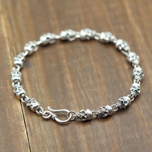 925 Sterling Silver Skeleton Skull Chain&link Bracelets For Men Women Real Pure Silver Punk Vintage Skull Bracelet Jewelry Gift C19021501