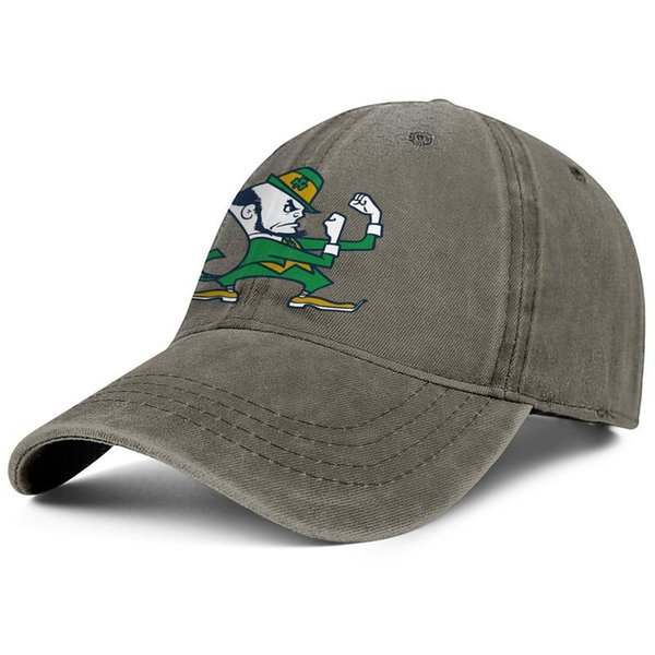 Notre Dame Fighting Irish football logo brown mens and womens Denim caps washing fishing hats styles custom cheap Outdoor Unconstructed Dad