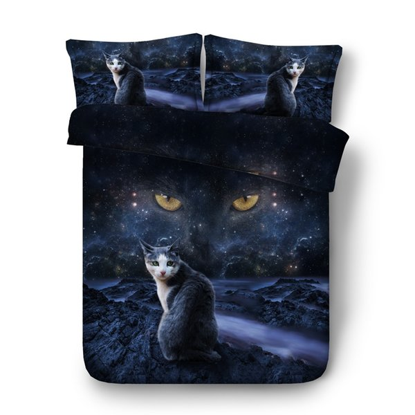 Mystic night sky and cat print duvet cover set 4/6pcs black cat bedding sets Single Full Queen king size bed linen 3d bedclothes