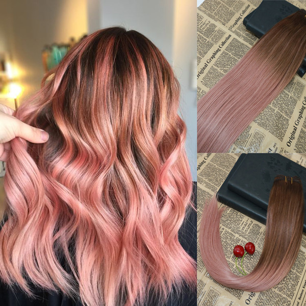 10a Grade Balayage Human Hair Weft Weave Ombre 3 Fading To Rose Gold Highlights Thick Ends Hair Bundles Extensions 100g Human Hair Curly Weave