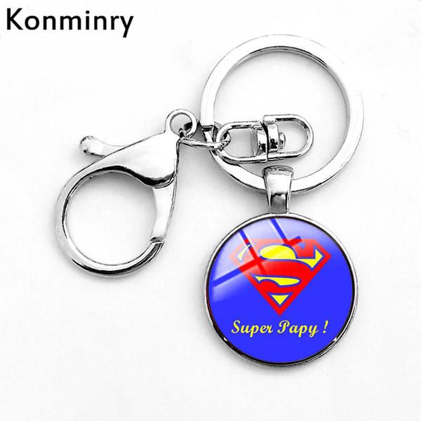 Konminry Super Papy Haken Karabinerverschluss Schlüsselanhänger Glaskuppel Anhänger Opa Kunst Französisch Brief Design Frauen Männer Keychain Geschenke
