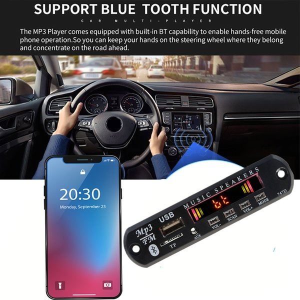 Car Bluetooth Fm Radio Wireless Mp3 Player Handsfree With Mic Tf Usb 3.5mm Aux 5v 12v Car Audio Modification Kit For Speakers