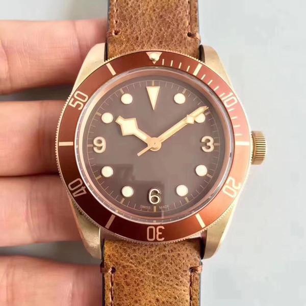 Fábrica superior ZF MEJOR Versión Automática ETA 2824 Reloj de Bronce Hombres Marrón Dial cuero Cronómetro Hombres M79250BM 43mm Dive Sapphire Crystal Watch