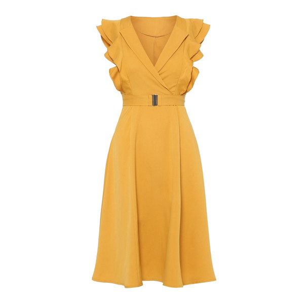 Kinikiss Yellow Dress Women Pleated Sleeveless Wave Cut Lace-up Sweet Party Dress Summer 2019 Double-layer Elegant Vintage Dress Q190419