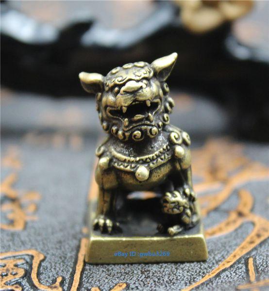 Collection de figurines en laiton chinois Gravure de sceau de lion