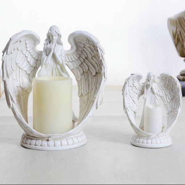 Vintage Kerzenständer Engel Kerzenhalter Elektronische Kerze Polyresin Kerzenständer Retro Wohnkultur Ornament Raum Hochzeit Dekoration