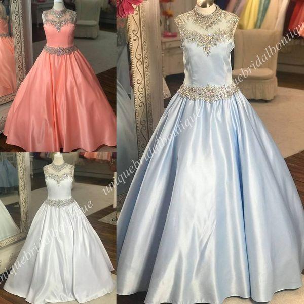 Vestidos del desfile de Little Roise Girls 2019 una línea de cuello alto Real Photo Light Sky Blue White Vestido de primera comunión para niñas pequeñas Longitud del piso