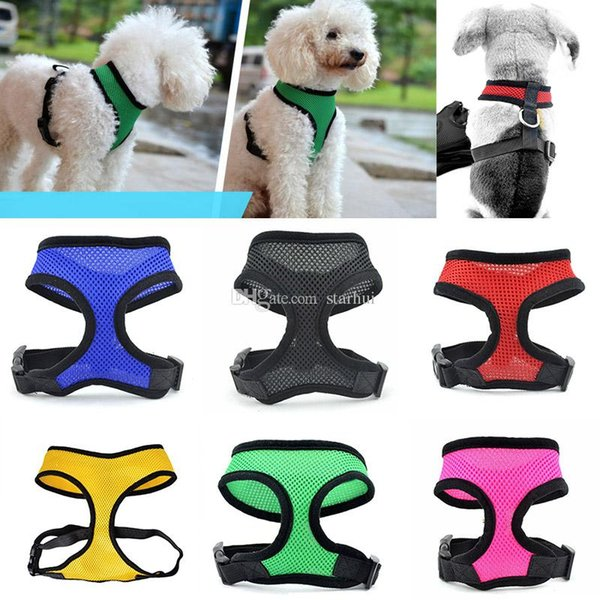 Nylon Pet Mesh Harness Soft Net Dog Mini Vest Adjustable Breathable Puppy Harness Dog Supplies 8 Color HH7-2038