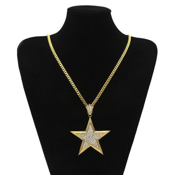 Fashion Shining Star Pendant Necklaces Mens Luxury Gold Plated Charm Necklace Cool Rhinestone Stars Necklaces Boys Street Jewelry Lover Gift