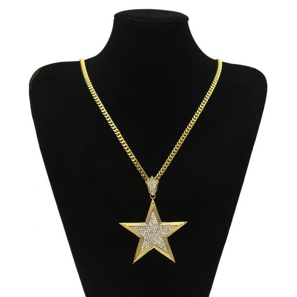 Mode Glänzende Stern Anhänger Halsketten Herren Luxus Vergoldet Charme Halskette Kühlen Strass Sterne Halsketten Jungen Straße Schmuck Liebhaber Geschenk