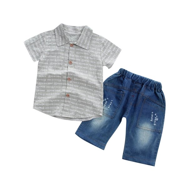 MUQGEW 2019 Children's Sets Toddler Baby Boy Gentleman Letter Short Sleeve Shirt+Denim Shorts Set Cloth boys clothes summer ropa