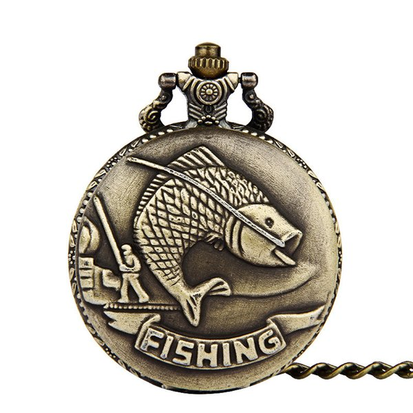Unique Bronze Fishing Sculpture Pocket Watch for Men Women Necklace Fob Chain Steampunk Clock Quartz Retro Pocket Watches Gifts
