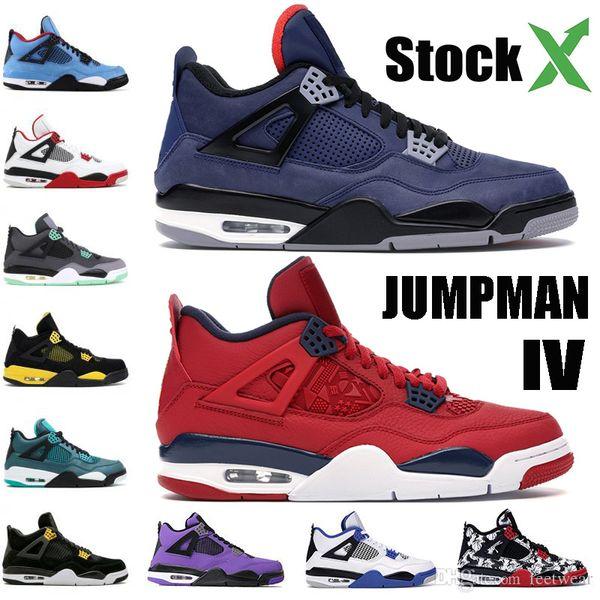 Nike air jordon retro 2019 4s Hombres Zapatillas de baloncesto Thunder Pure Money Bred 4 Athletic Cool Grey Flight Nostalgia Military Blue Designer Trainers Sport Sneakers