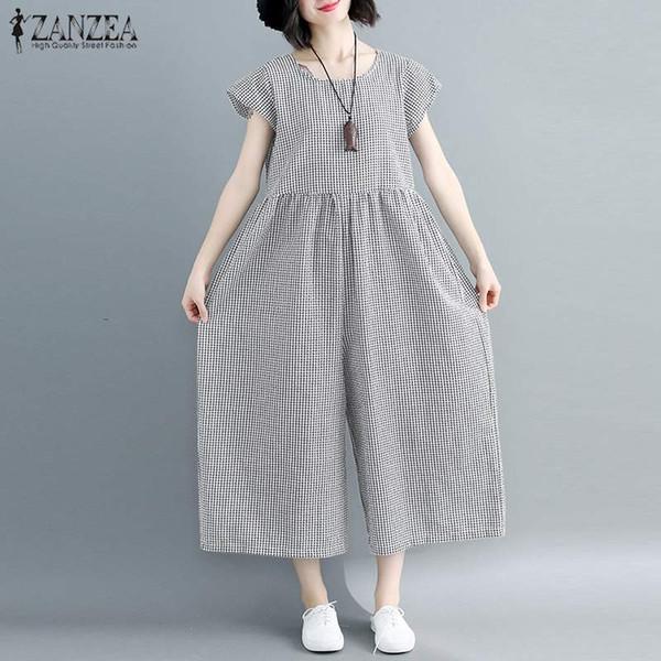 ZANZEA Yaz Vintage Onay Ekose Tulumlar 2019 Kadınlar Geniş Bacak Yüksek Bel Kısa Kollu Parti Tulum Playsuits Pantolon Kadın