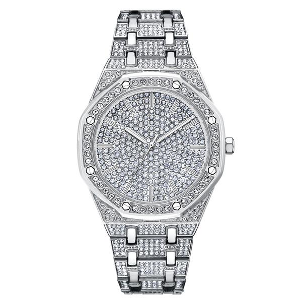 Top hommes de luxe Montre Hommes Femmes Robe Montres De Mode Montres À Quartz Argent Grand Cadran Strass Montres Nouveau reloj mujer