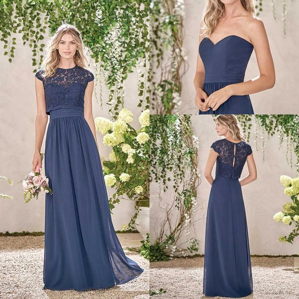 Cheap Navy Blue Long Country Style Bridesmaid Dresses 2019 with Lace Jacket Cap Sleeves Crew Neck Maid of the Honor Dress BA5352