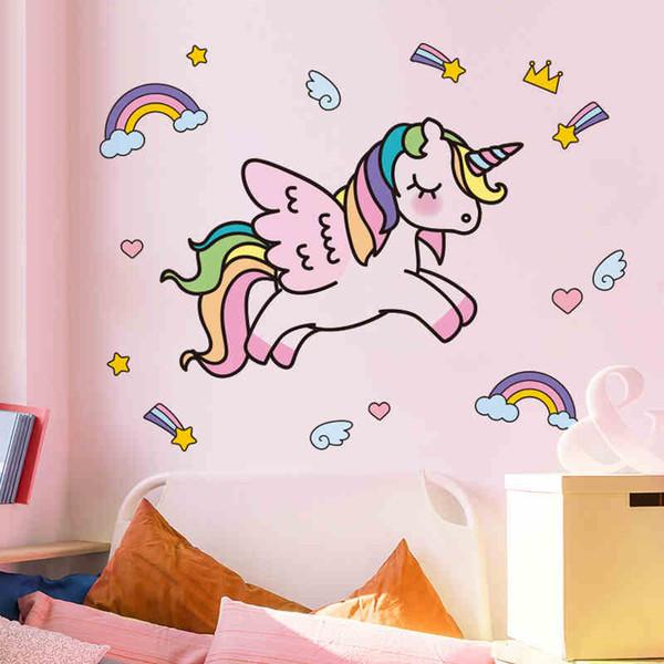 Cartoon Unicorn Wall Stickers For Kids Rooms Girls Rooms Bedroom Decor Animal Wall Art Unicorn Party Kids Room Decoration Wall Stickers For Babies