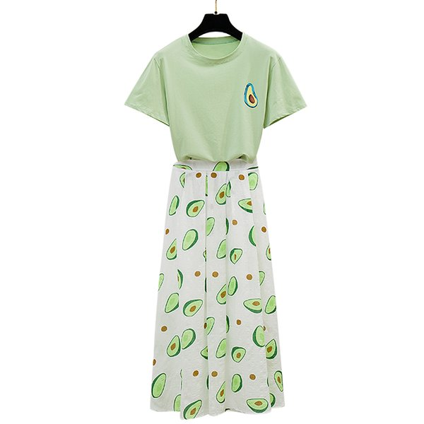 love avocado green jacket cotton T-shirt in summer long posed high-waisted a-line skirts suits female 2 pcs clothing set women