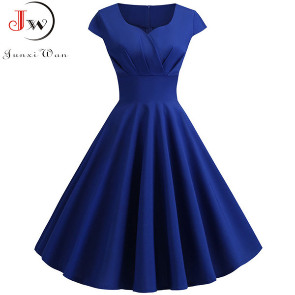 Taglie forti Abito estivo Donna Hepburn Vintage Rockabilly Pin Up Dress Robe Femme Casual Retro Elegante Party Midi Sundress Jurken
