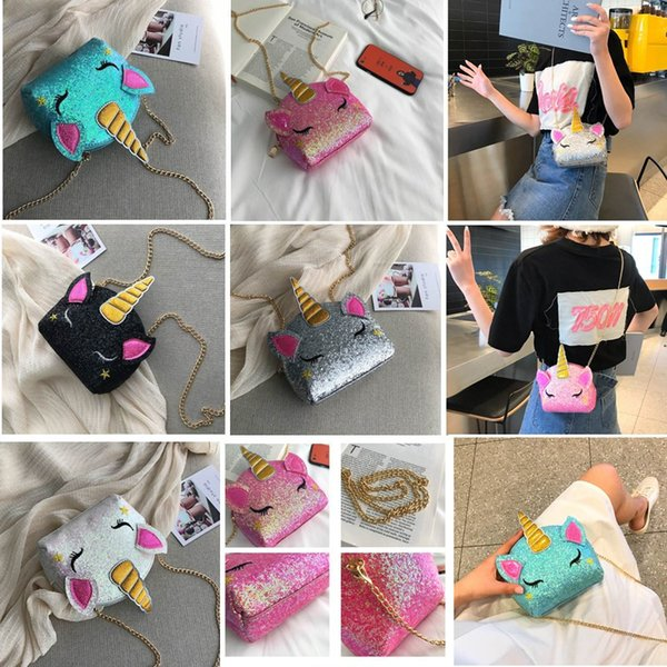 INS Cartoon Unicorn Chain Bags Glitter Bling Crossbody Bag Kids Coin Purse Wallets Cosmetic Bag Designer Fannypack Fashion Wasit Bags B71701