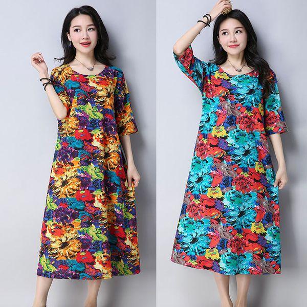 Vestido de verano de las mujeres 2019 Venta caliente de las mujeres del o-cuello de media manga de algodón y lino de impresión suelta vestido ropa mujer verano 2019