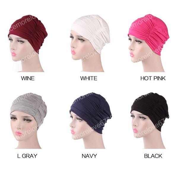 Женщины Мягкая рюшами с рюшами Chemo шапочка Cap Sleep Turban Hat Лайнер для рака Выпадение волос шапки Хлопок Бандана обертывание головы turbante