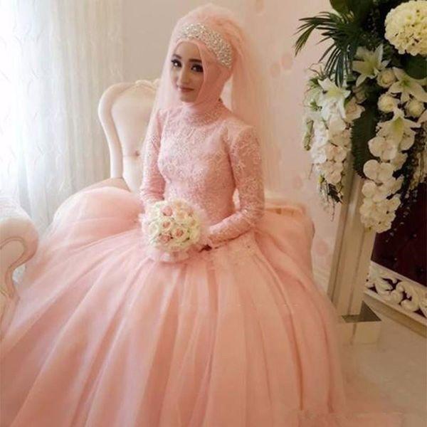 Elegant Gorgeous Arab Muslim Wedding Dresses 2019 Custom Made Lace Appliques Wedding Gowns High Neck Long Sleeve Bridal Dresses