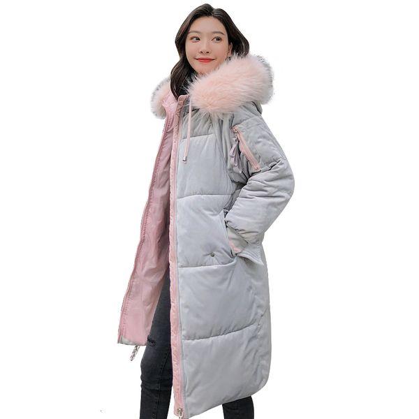 La veste de velours d'hiver de 2019 donne de haute qualité des femmes chaudes épaisses robes longues de flocon de neige Paka