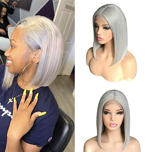 Pink Red Purple Green Grey Colored Short Bob Lace Front Human Hairs Wigs Pre plucked With Baby Hair Straight Bob Front Lace Wig,Silver grey