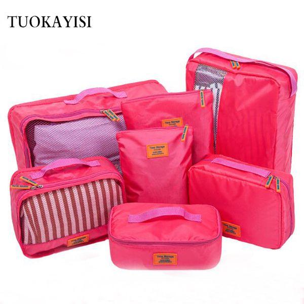 Men WaterProof Travel Bag Suit Nylon Large Capacity Women Bag Foldable Travel Bags Hand Luggage Packing Cubes Organizer 7pcs/set
