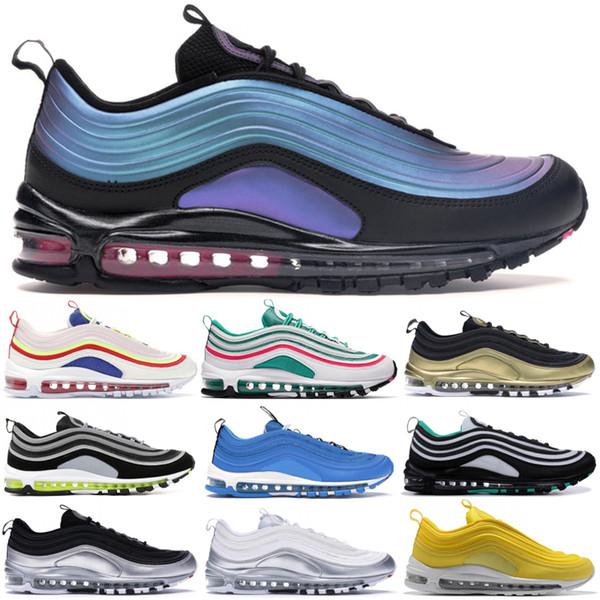 Vente Hot Cheap Coussin de Chaussures de course Femmes Hommes Nike air max 97 OG Classique Argent Or Sports Athlétiques confortable respirant Designers Outdoor Chaussures de sport
