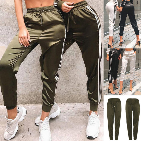 Women Sport Running Pants Striped Loose Yoga Trousers Exercise Fitness Jogging Workout Pants Fashion Outdoor Casual Pocket