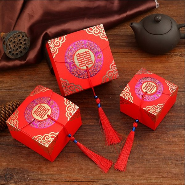 Double Happiness Vintage Chinese Style Paper Sugar Candy Box Square Sweet Box Wedding Favor Box W9483