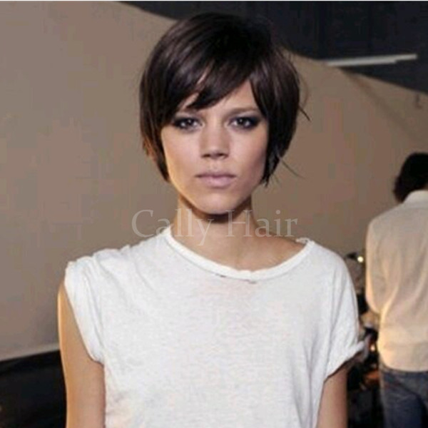 Burmese Hair Pixie Cut Bob Wigs with bangs Layered Short African American Glueless Wigs For Black Women Full Hair Lace Wigs