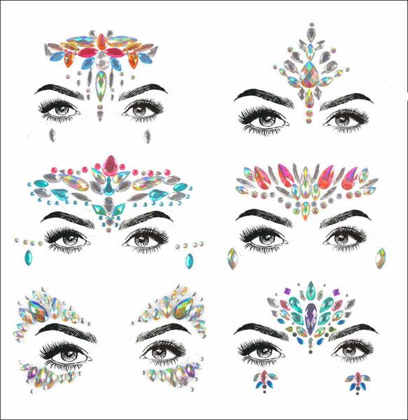 2019 acrilico resina trapano bastone bindi sticker raccolto a mano boemia e stile tribale viso e occhio gioielli fronte decor sticker t190711