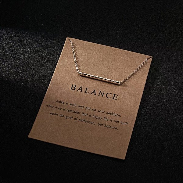 New greeting card creative paper card gold necklace for women, alloy pipe necklace fashion joker jewelry gifts