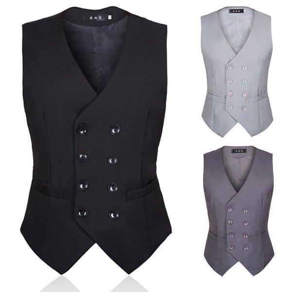 Mejore la armadura de traje de otoño para hombres Estilo británico y versión coreana de chaleco de traje negro para hombres con forma de cuerpo cruzado