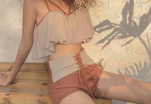 New Korean version of hot spring swimsuit with high waistband for women beautiful nice good great