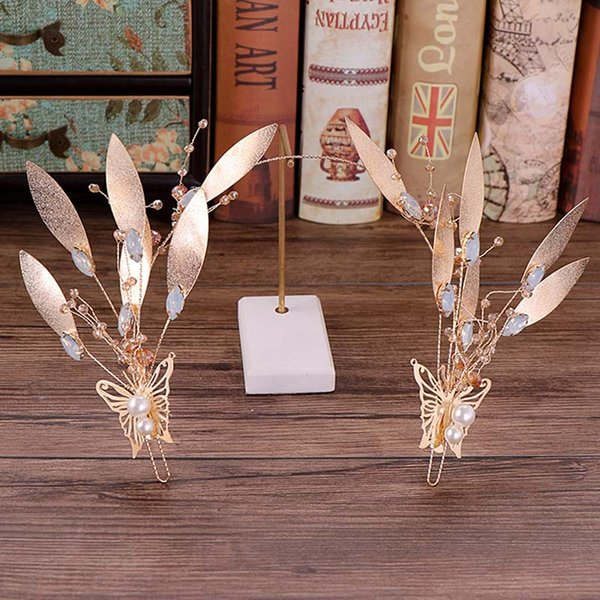 Vintage Baroque Gold Leaf Butterfly Pearl Bride Hairband Headband Tiaras Headpieces Wedding Bridal Hair Jewelry Accessories VL