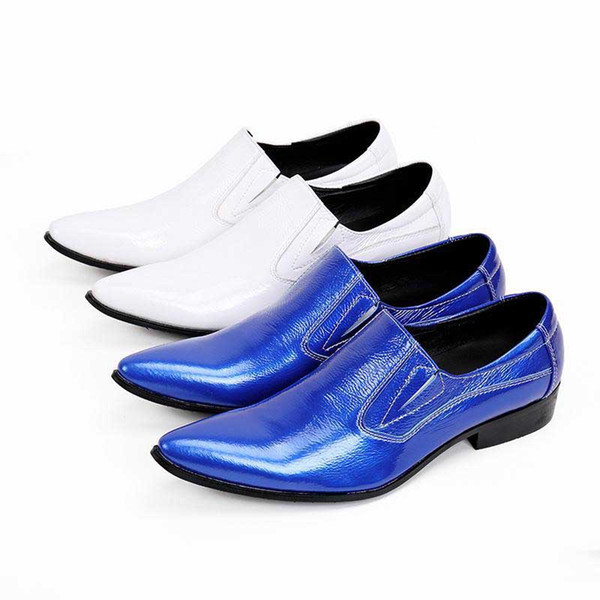 Korean Fashion Men Shoes Pointed Toe White Wedding Dress Shoes Men Business Formal Party zapatos de hombre oxford shoes for men