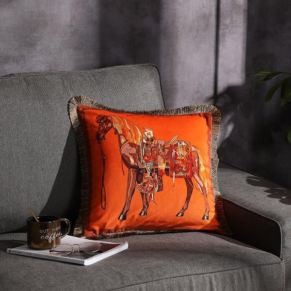 Luxury Horse Velvet Tassel Cushion Cover Soft Double Printed Pillow Cover Pillowcase Home Decorative Sofa Throw Pillows