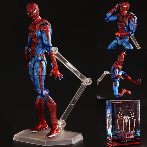NOUVEAU 15 cm Justice ligue Incroyable Spiderman araignée homme Figma 199 mobile Ultimate Action figure jouets Spiderman Cadeaux De Noël