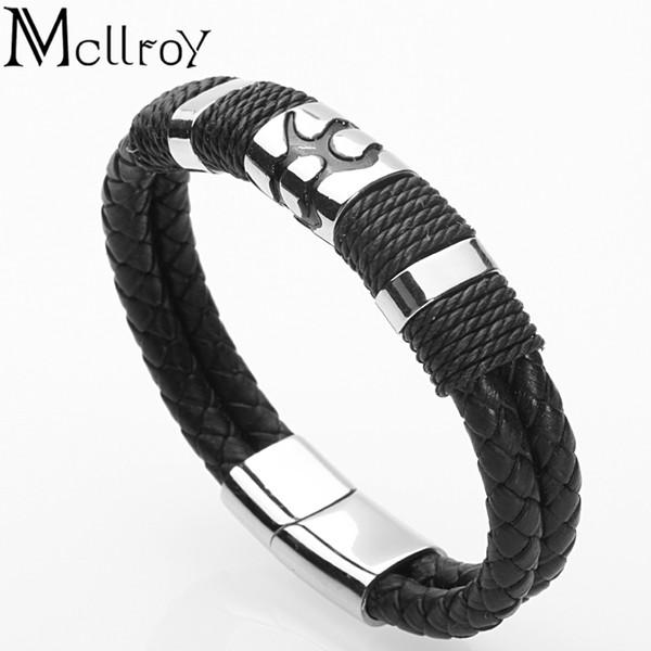 Mcllroy Genuine Leather Bracelet Men Handmade Charm Stainless Steel Magnet Clasp Bracelet Homme Mens Bracelets 2019 Jewelry Gift