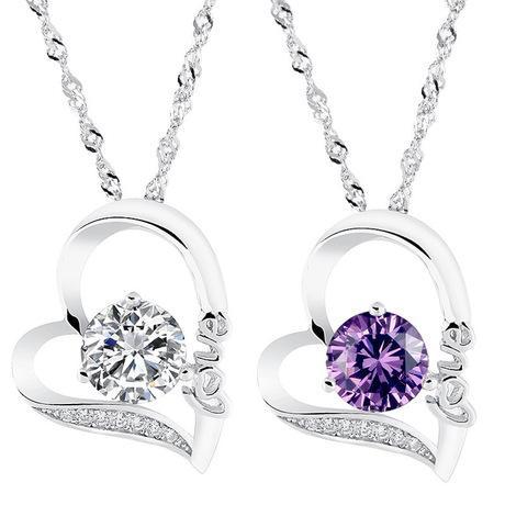 Cristal de plata carta de amor en forma de corazón colgante de diamantes declaración collares regalo de boda vintage mujer joyería moda