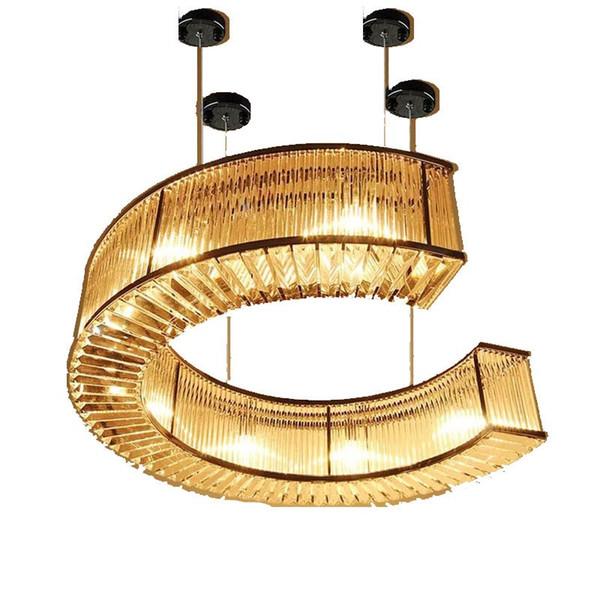 Postmodern k9 crystal chandelier C-shaped hotel restaurant custom lamps lobby living room 110V~260V chandeliers lighting fixture