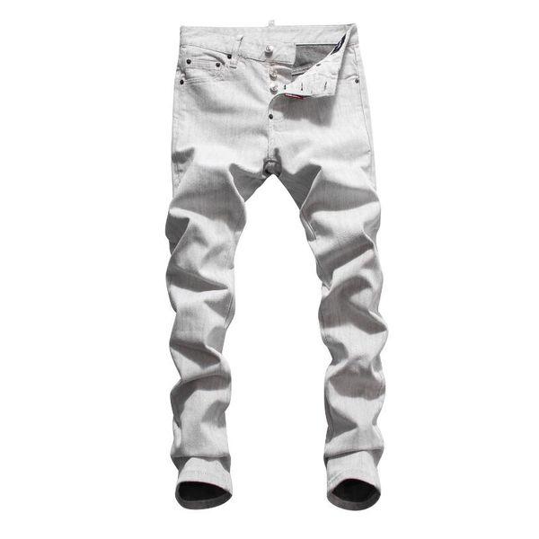 Hot 2019 Men Ripped Denim Tearing Jeans blanco algodón moda Tight primavera otoño pantalones hombre A8073 PHILIPP PLEIN DSQUARED2 DSQ2 D2