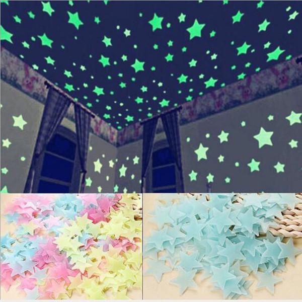 100pcs Stars Glow In The Dark Luminous Fluorescent Plastic Wall Stickers Kid's Bedroom Home Decor Decals
