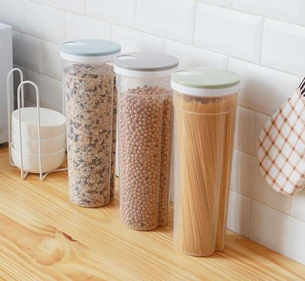 Tall Clear Spaghetti Pasta Container Food Storage Box With Lid Multi-Purpose Kitchen Pantry Organization For Noodles Beans Straws